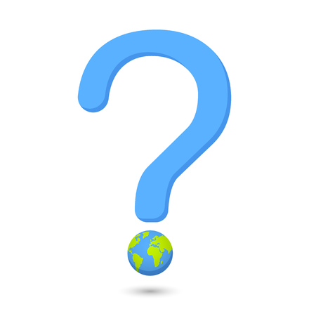 word eco globe illustration vector earth globe with question