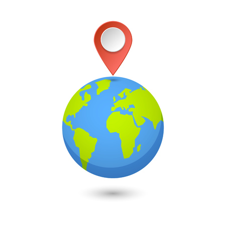 Planet and map pins icon. Earth and colorful map label. Modern graphic elements for web banners, web sites, printed materials, infographics. Vector illustration. Vectores