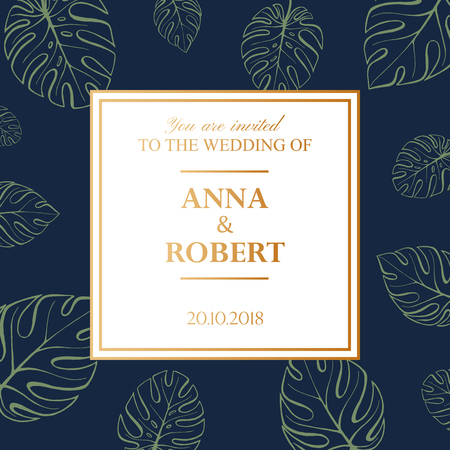 Wedding Invitation Card in pastel colors. Tropical Background. Vector Template Fashion