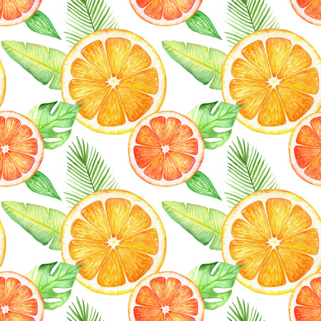 Citrus slice fruits watercolor hand drawn pattern. Orange, lemon, lime isolated on white background. For the design of invitations, greeting cards, wallpapers, banners, web and print Stock Photo