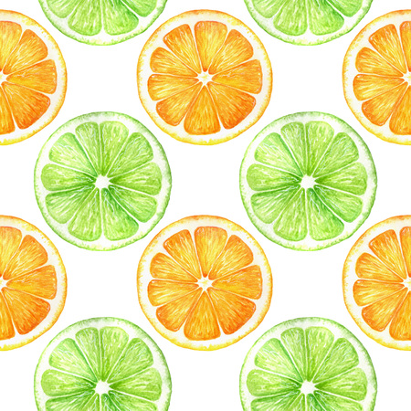 Citrus slice fruits watercolor hand drawn pattern. Orange, lemon, lime isolated on white background. For the design of invitations, greeting cards, wallpapers, banners, web, print Stock Photo