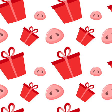 Pig is a symbol of 2019 new year. Seamless pattern with cute pigs noses and present. Flat design, vector illustration. Vectores