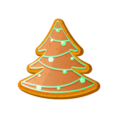 Gingerbread fir tree. Christmas ginger bread vector illustration isolated on white background.