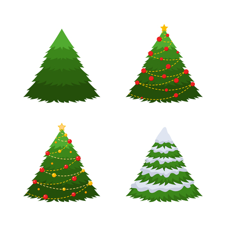 Set of 4 firs. A green fir, a fir in snow, a Christmas-tree with decorations.