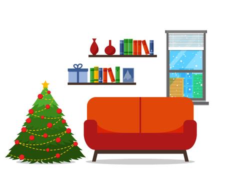 Christmas room interior. Christmas tree wih sofa. Flat style vector illustration. Иллюстрация