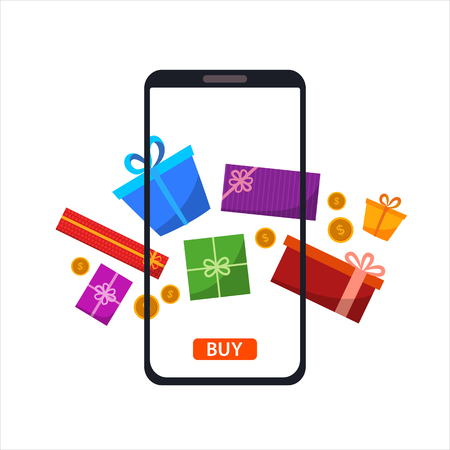 Phone gadget with gifts presents. Concept of online shopping in flat style