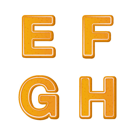 Gingerbread alphabet letters from E to E for christmas or new year holiday design