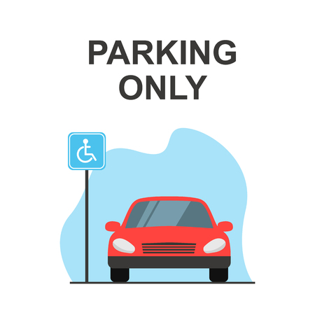 Disabled or handicapped parking space, red car, Front view. Flat vector illustration. Vettoriali