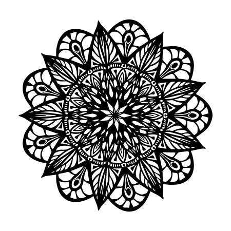 Mandala for coloring book. Unusual flower shape. Decorative round ornaments, Anti-stress therapy pattern. Weave design elements.