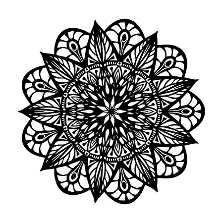Mandala para colorear libro. Forma de flor inusual. Adornos redondos decorativos, patrón de terapia antiestrés. Tejer elementos de diseño. Ilustración de vector