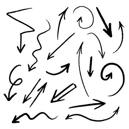 Hand drawn arrow set, collection of black direction pencil sketch symbols, vector illustration graphic design elements