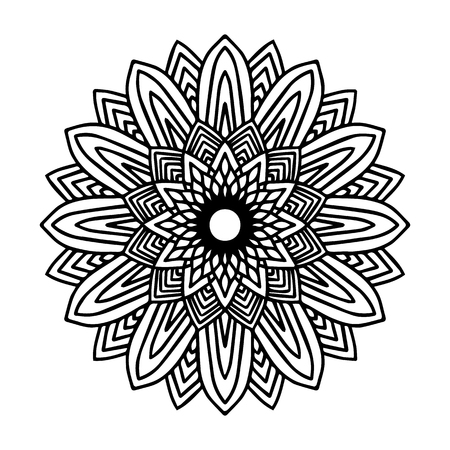Round black mandala on white isolated background. Vector boho Mandala with floral patterns. Anti-stress therapy, decorative round ornament. Hand drawn background