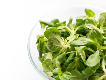 Fresh green Corn salad leaves or lambs lettuce in bowl. Top view, lambs lettuce isolated on white background Zdjęcie Seryjne - 121820562