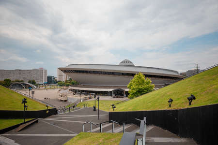 KATOWICE, POLAND - 18.07.2018 - Sports hall, built in the shape of a flying saucer and green roof of International Congress Center
