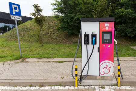 Katowice, Poland 07/18/2020 - Power supply for electric car charging. Electric car charging station Editorial
