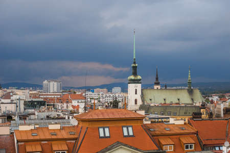top views of the old town in Brno, Morawia, Czech Republic, Europe. Church of St. Thomas
