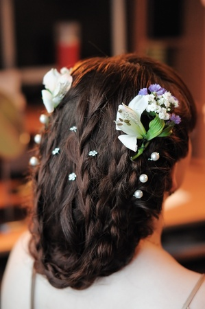 Beauty wedding hairstyle rear view  photo