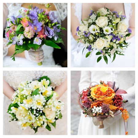 Set of brightness wedding bouquet  photo