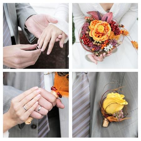 Set van elegantie huwelijksfoto's Stockfoto