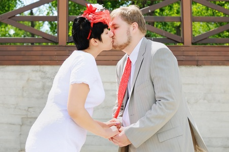 wedlock: Bride and groom kissing on the beach  Stock Photo