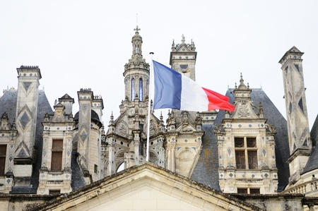 french flag: French national flag on the castle  Editorial