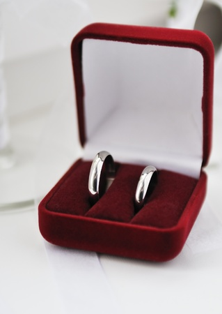 Two wedding rings in nice red box photo