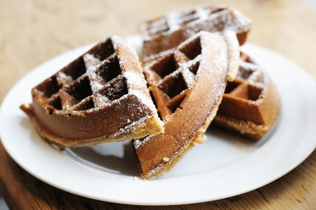 Homestyle Belgian waffles on a white plate Stock Photo - 13042222