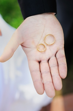 Man holding two gold wedding rings  Stock Photo - 13174587