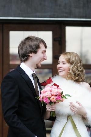 wedlock: Happy bride and groom outdoors