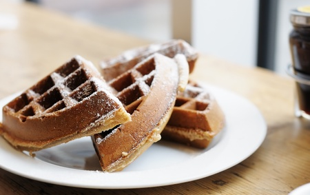 Homestyle Belgian waffles on a white plate Stock Photo - 13553914