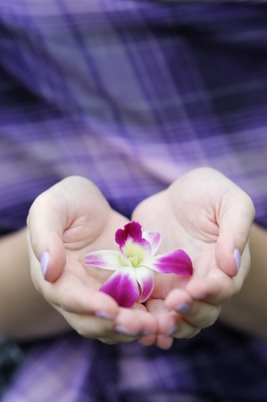 Woman holding beautiful lilac flower in her hands Stock Photo - 13725091