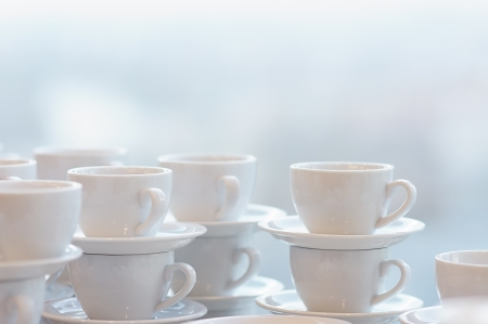 Many white coffee mugs Stock Photo - 13892201