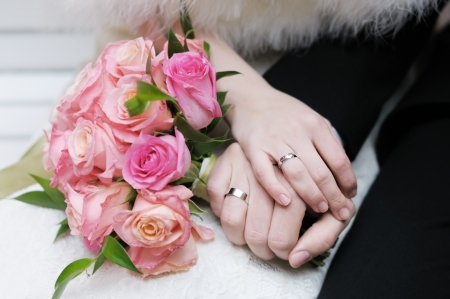 Bride and groom s hands with wedding rings