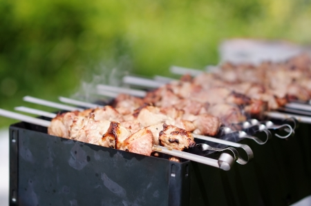 Juicy slices of meat with sauce prepare on fire  shish kebab  photo