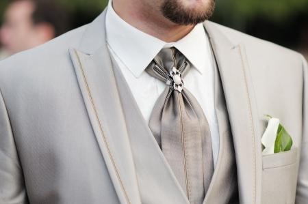 Elegant decoration on man wedding suit 版權商用圖片
