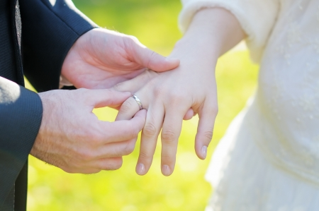Groom putting a wedding ring on bride s finger