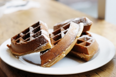 Homestyle Belgian waffles on a white plate Stock Photo - 16806606