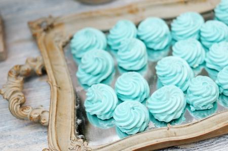 Delicious fancy mint pastila on wooden tray Stock Photo - 18802020