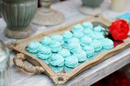 Delicious fancy mint pastila on wooden tray Stock Photo - 18937356