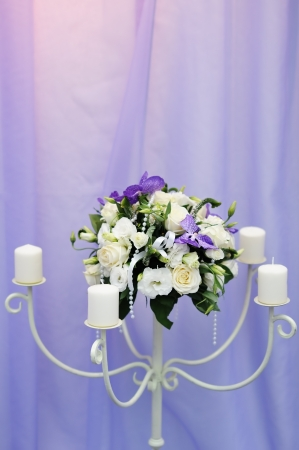Beautiful wedding flowers and candles decoration Stock Photo - 18937350