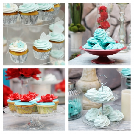 Set of elegance red and blue wedding table set photos photo