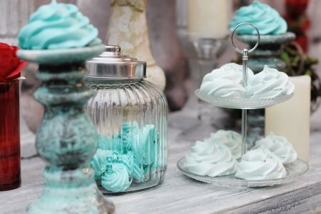Delicious fancy mint pastila  red and blue wedding table set Stock Photo - 20269593