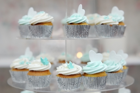 Delicious colorful wedding cupcakes photo