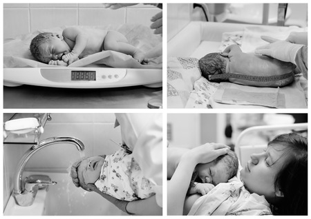life giving birth: Set of black and white photos of newborn baby right after delivery