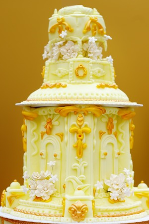 Delicious lemon big wedding cake photo