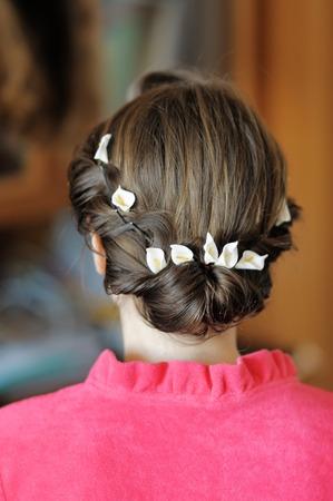 Beauty wedding hairstyle close up photo