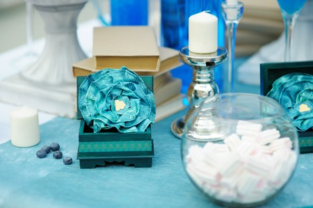 Stylish sweet table on wedding or event party photo