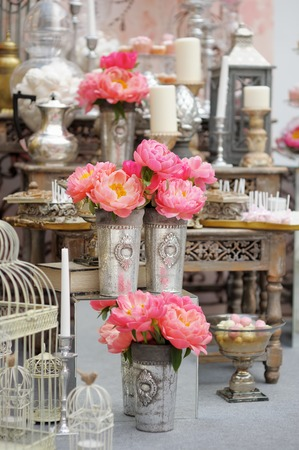 candy shop: Stylish sweet table on wedding or event party  Stock Photo