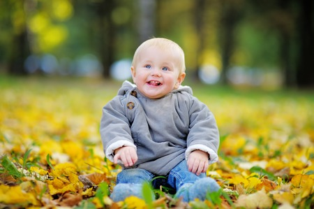 Happy little baby boy having fun in the autumn park photo