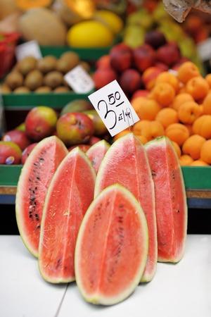 Fresh watermelon at farmers market photo